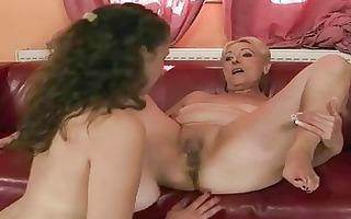 grandma and juvenile cutie enjoying hawt lez sex