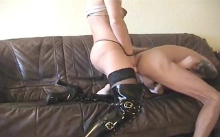 perverted pair- wife thong-on copulates hubby