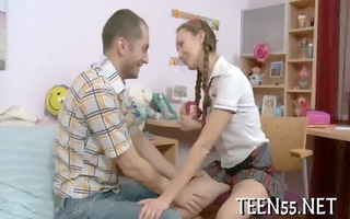 enjoyable legal age teenager plays with big tool