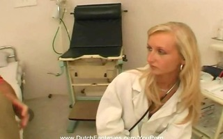 golden-haired doctor copulates her patient