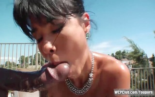 big butt oriental takes a bbc in her booty