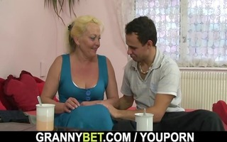 old blond rides his cock