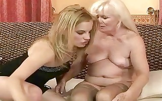 unsightly granny enjoying lesbo sex with sexy girl