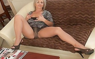 gracious blond momma in hose does striptease