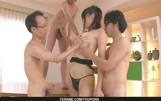chaps get a japanese gal blow job from saki