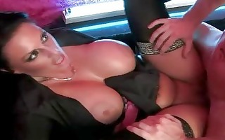 enormous chested momma in dark nylons receives