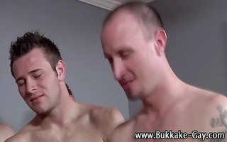 hunky homo acquires bukkake after being drilled