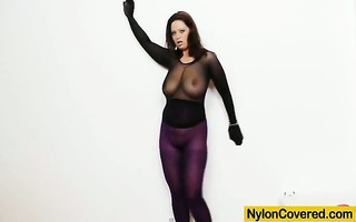 massive titties hotty in nylon mask and full body