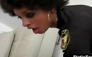 afro police hottie rides white penis