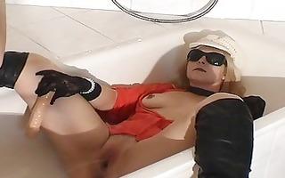 void urine drinking slut wife in the washroom