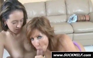 three-some with a lascivious mama engulfing penis