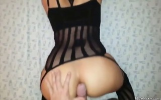 wifes butt and cunt acquires rammed by large cock