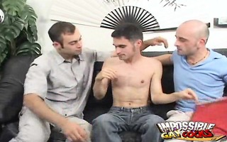 excited homosexual guys sharing jean-phillipes