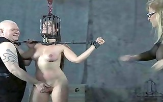 old bdsm masters whipping of shackled serf