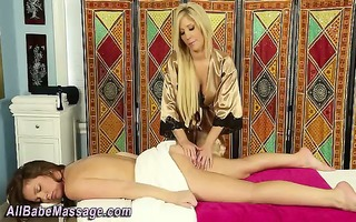 golden-haired masseuse licks and fingers