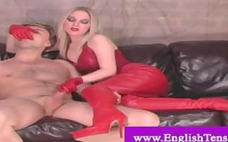 english dominatrix in red leather teasing and nt