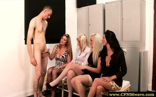 four femdom cfnm skanks jerk and engulf guy