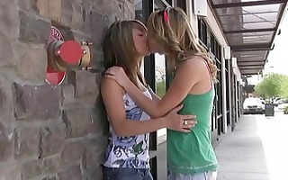 rilee and sara pleasant lesbos giving a kiss and