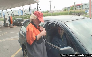 granny is picked up and screwed in the fields