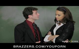 cute breasty school teacher in sexy uniform bonks