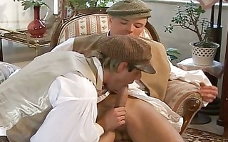pants removed and oral job takes place