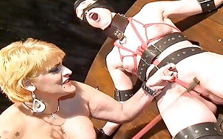 lesbo female tit whipping and girlie cruelty