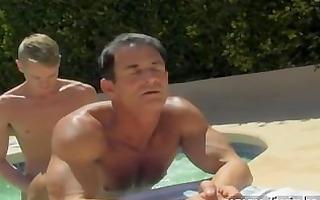 homosexual xxx dad poolside prick
