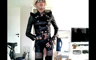 sissy posing in leather