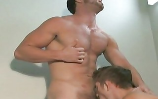 impressive muscled homosexual men giving blowjobs