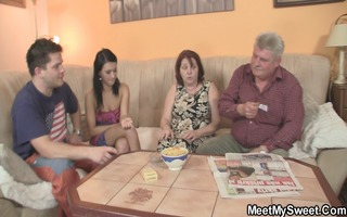 innocent girl is enticed by granny and screwed by