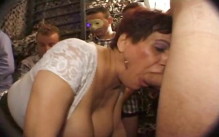 breasty french older sucks cock with a younger