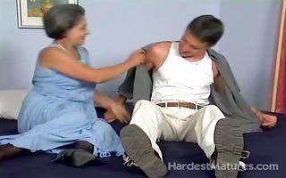 old lady engulfing shlong whilst fingering