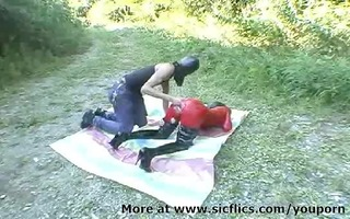 way-out floozy fist screwed outdoors in her
