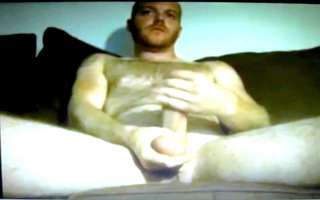 hung curly dad jerking large schlong on web camera