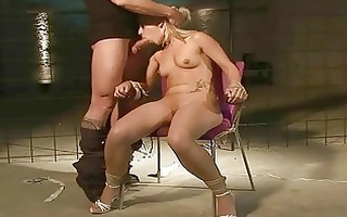 beautiful golden-haired getting bondaged and
