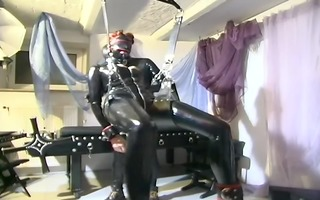 leather trio has pleasure with a sex swing -