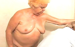 aged bathing granny before getting drilled