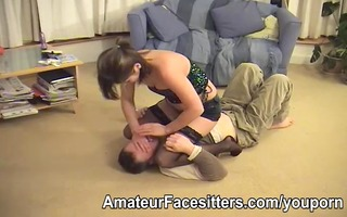 a man is punished by honeys for watching porn