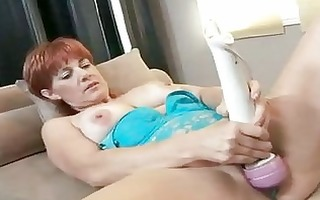 red sexy momma calliste pounds her pussy with