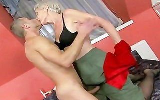 sexy granny enjoys sex with young stud