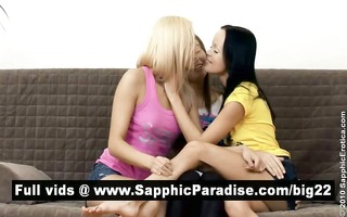 carnal dark brown and blond lesbos giving a kiss