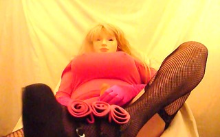 crossdresser plasticface in pink