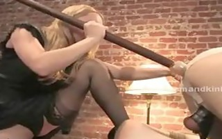 blond bewitching breasty domme abuses sex bondman