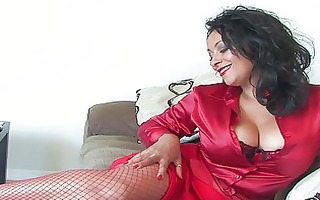hawt brunette hair in red outfit and nylons plays