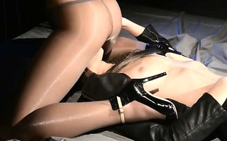 blindfolded woman receives fuck by thong on