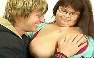 huge titted fattie jumps on hard knob
