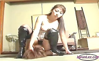 9 oriental angels in underware and boots licking