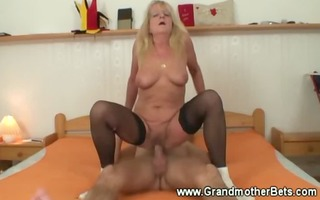 sexy granny riding younger jock