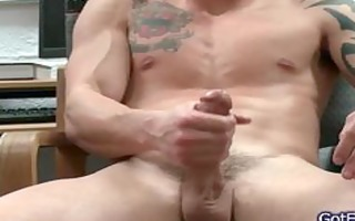 fantastic muscled and tattoed hunk stroking part10