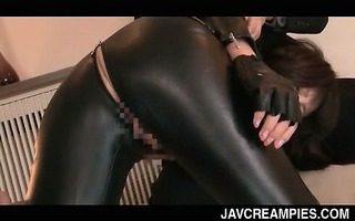 asian tramp in latex slit licked and face hole